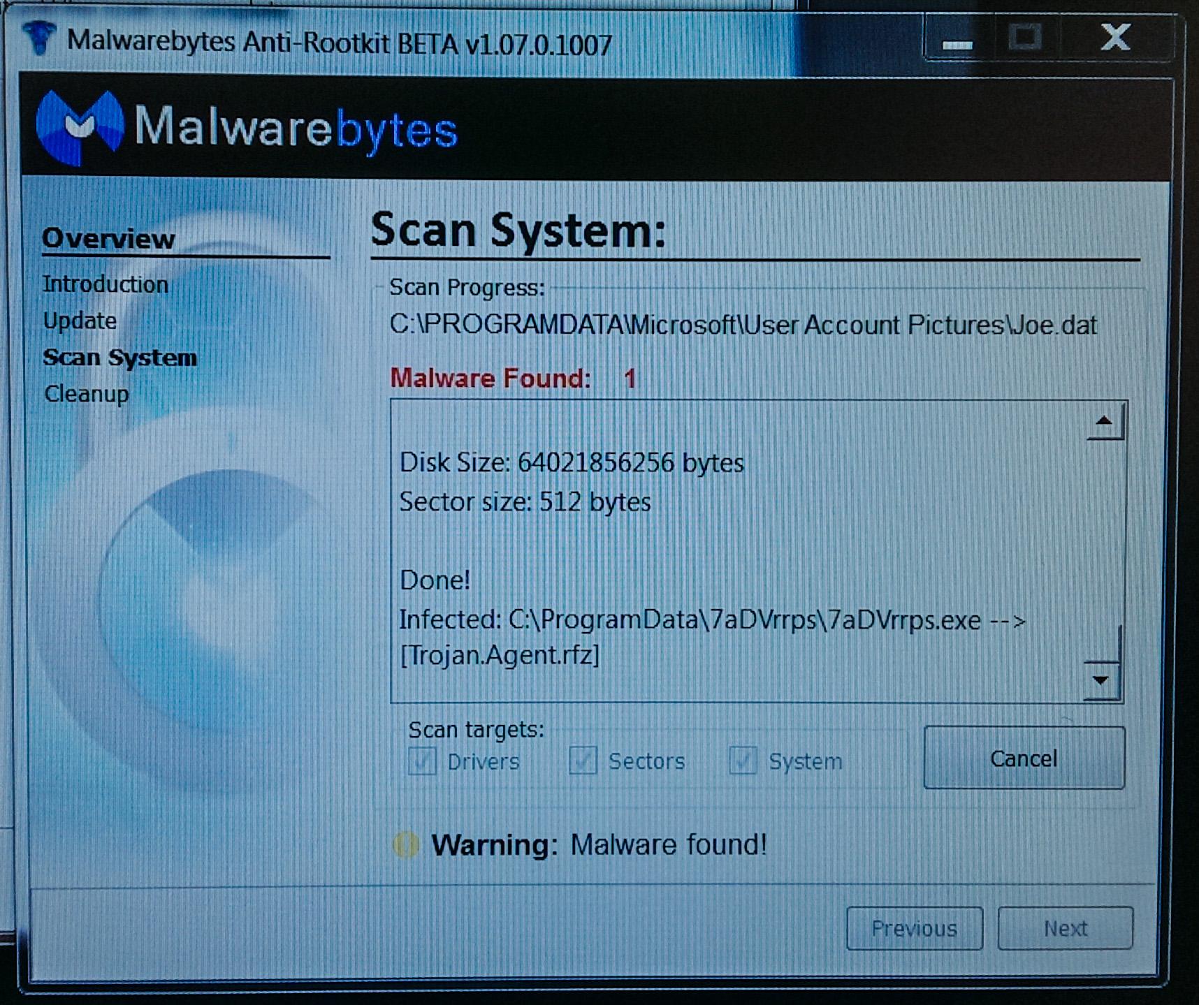 how to delete malwarebytes rootkit