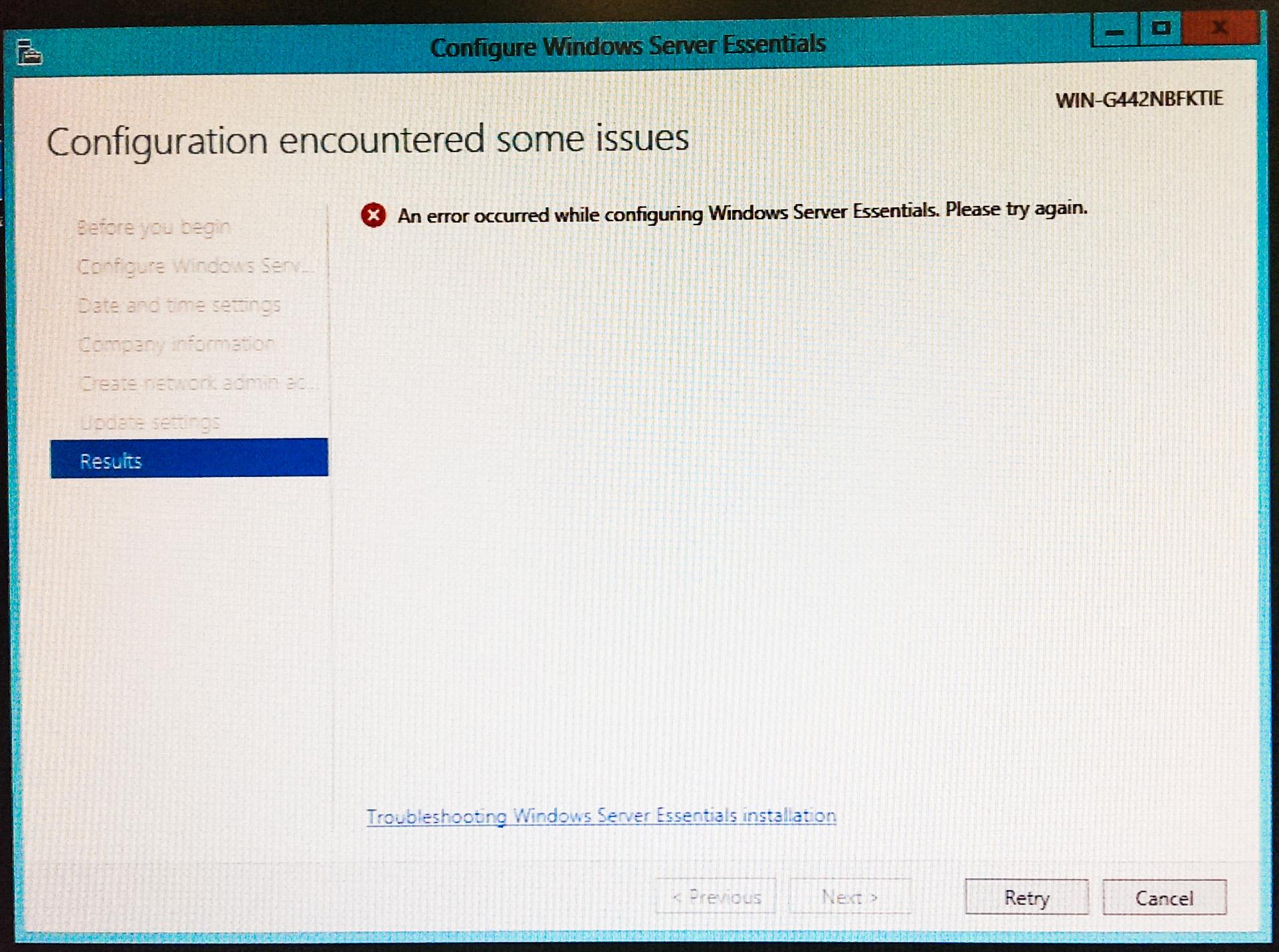 an error occurred while configuring windows server essentials please try again techspeeder. Black Bedroom Furniture Sets. Home Design Ideas